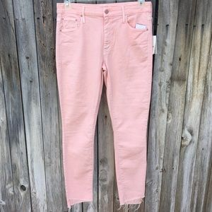 NWT Mother The Looker Step Fray Ankle Jean Pink 31